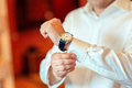 Businessman look his watch Royalty Free Stock Photo