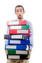Businessman with lots of folders Stock Photography