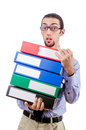 Businessman with lots of folders Royalty Free Stock Images