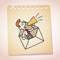 Businessman and loudhailer note paper cartoon sketch talking in a megaphone Royalty Free Stock Photography