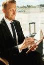 Businessman making notes. Royalty Free Stock Photo