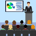 Businessman making presentation, podium