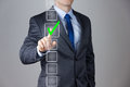 Businessman making right decision touching screen interface Stock Photos