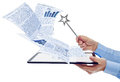 Businessman managing electronic documents Royalty Free Stock Photo