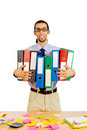 Businessman with many folders Royalty Free Stock Images