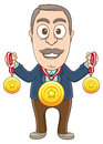 Businessman many prizes vector illustration of a got lots of medals Stock Images