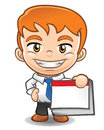 Businessman mascot holding a blank calendar cartoon character reminder Royalty Free Stock Photos