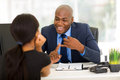 Businessman meeting client friendly african american with Stock Photo