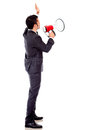 Businessman with a megaphone Royalty Free Stock Images