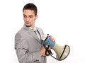 Businessman with megaphone Stock Photography