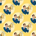 Businessman with megaphone pop art style vector illustration human seamless pattern background comic book style Royalty Free Stock Photo