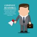 Businessman megaphone suitcase necktie cartoon icon Royalty Free Stock Photo