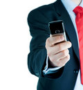 Businessman and mobile phone Royalty Free Stock Photography