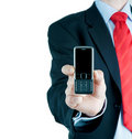 Businessman and mobile phone Stock Photos