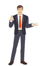 Businessman with mobile phone gesturing