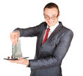 Businessman with money holdin tablet empty screen and a lot of in wis hands Stock Photography