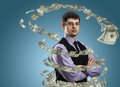 Businessman with money vortex Royalty Free Stock Photo