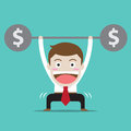 businessman with money workout Royalty Free Stock Photo