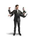 Businessman multitasking Royalty Free Stock Image