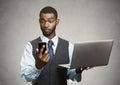 Businessman multitasking Royalty Free Stock Photo