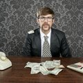 Businessman nerd accountant dollar notes Stock Image