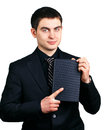 Businessman with a notebook on white background Stock Image