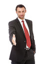 Businessman offering for handshake handsome over white background Royalty Free Stock Images