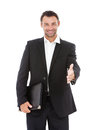 Businessman offering for handshake handsome over white background Stock Images