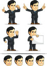 Businessman or office executive customizable masco a vector set of employee in many poses drawn in cartoon style this vector is Stock Photography