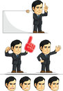 Businessman or office executive customizable masco a vector set of employee in many poses drawn in cartoon style this vector is Royalty Free Stock Photo