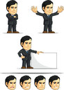 Businessman or office executive customizable masco a vector set of employee in many poses drawn in cartoon style this vector is Royalty Free Stock Photography