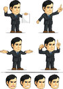Businessman or office executive customizable masco a vector set of employee in many poses drawn in cartoon style this vector is Stock Image