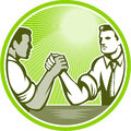Businessman office worker arm wrestling illustration of two officer engaged in an wrestle viewed from side set inside circle done Stock Photography