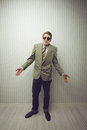 Businessman old style open arms Royalty Free Stock Photography