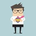 Businessman opening shirt in superhero style