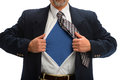 Businessman opening shirt to reveal super hero costume torso of Stock Photography