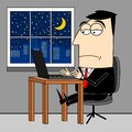Businessman working late at night on computer - overtime concept Royalty Free Stock Photo