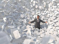 Businessman in a paper avalanche Royalty Free Stock Photo