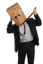 Businessman With Paper Bag on Head Pulling Ties Royalty Free Stock Images
