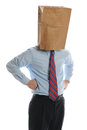 Businessman with paper bag on his head Royalty Free Stock Images