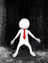 Businessman person in rain d figure wearing a red tie caught out torrential shower bad stormy business market concept Stock Images