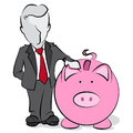 Businessman with piggy bank cartoon Royalty Free Stock Photos