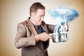 Businessman with plan cooking up strategic storm planning business man standing in kitchen stirring a of clouds and lightning from Royalty Free Stock Images
