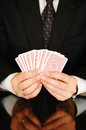 Businessman with playing cards Royalty Free Stock Photos
