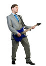 Businessman playing guitar Royalty Free Stock Photo