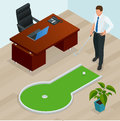 Businessman playing mini golf in his office. Perfect for products such as t-shirts, pillows, album covers, websites