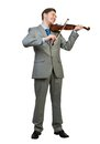 Businessman playing violin Royalty Free Stock Photo