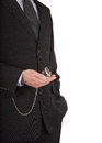 Businessman with a pocket watch in his hand close up of an open Stock Photography