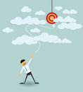 Businessman point the target in the sky vector file Stock Photo