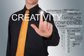 Businessman pointin to creativity word on a panel with more business concepts Stock Photography